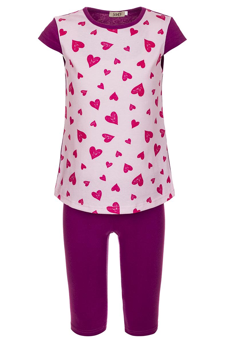 Комплект для девочки M&D: футболка, шорты, цвет: розовый, мультиколор. SJI27023M05. Размер 116 лосины для девочки m&d цвет бирюза мультиколор м33228 размер 116