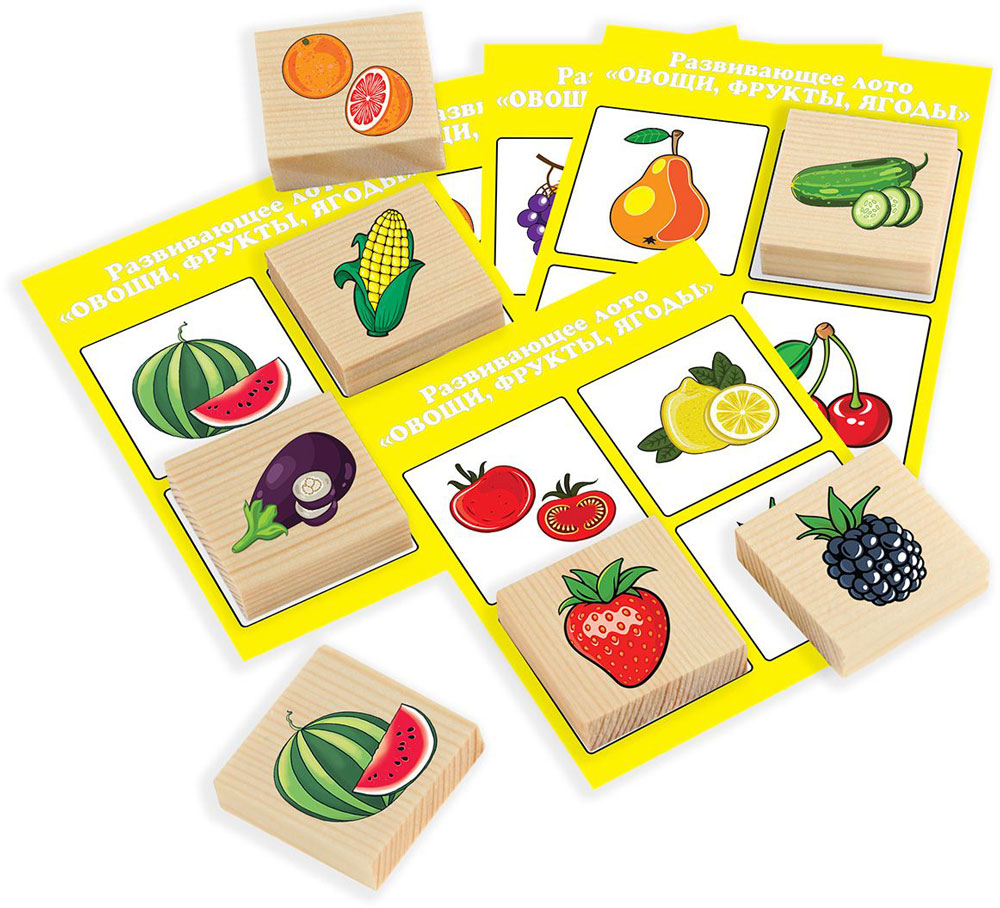 Развивающие деревянные игрушки Лото Овощи фрукты ягоды Д533а цена