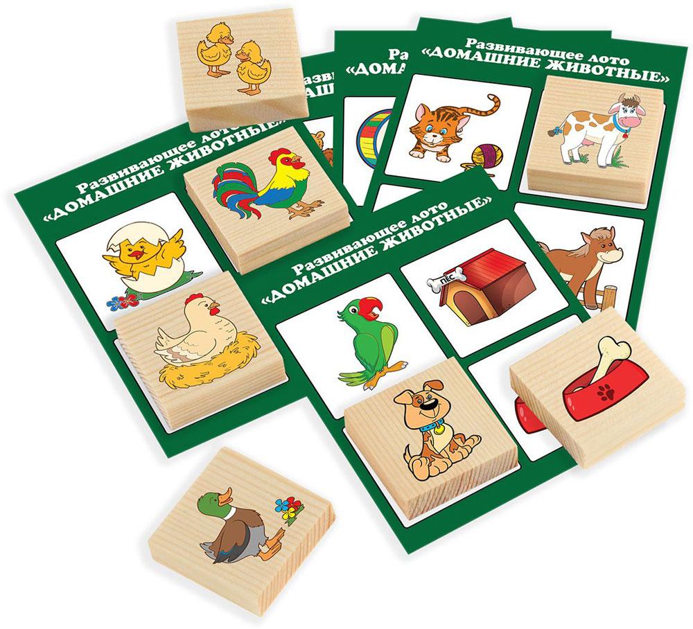 Развивающие деревянные игрушки Лото Домашние животные Д534а тактильное лото животные