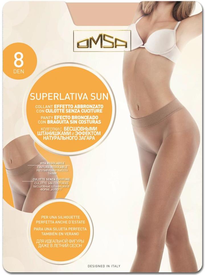 Бесшовные колготки Omsa SuperLativa 8 Sun, цвет: Beige Naturel (натурально-бежевый). Размер 5SuperLativa 8 SunПолупрозрачные колготки от Omsa с бесшовной верхней частью, идеально облегают и подчеркивают фигуру.