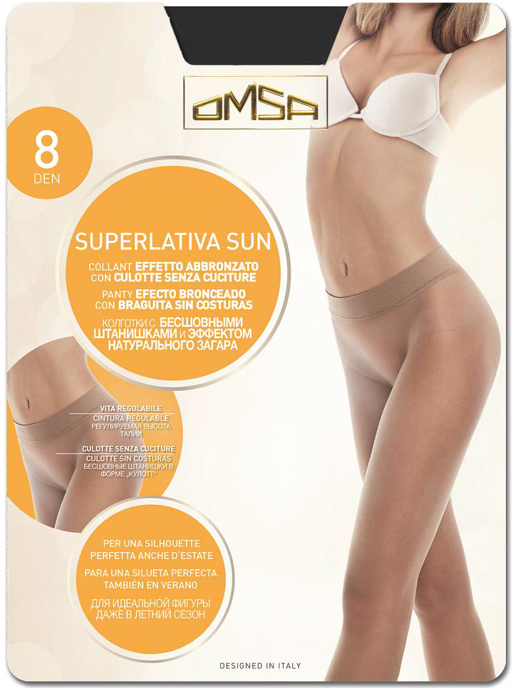 Бесшовные колготки Omsa SuperLativa 8 Sun, цвет: Nero (черный). Размер 5 колготки omsa superlativa размер 3 плотность 20 den nero