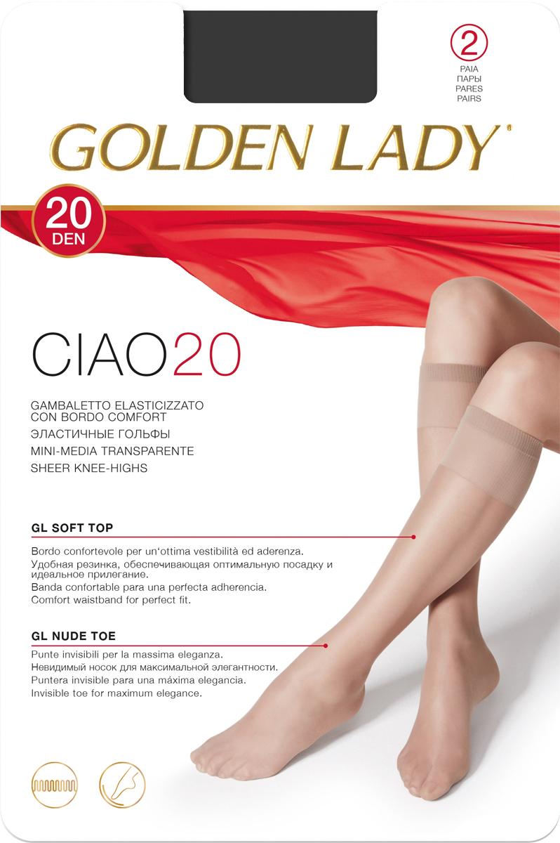 Гольфы Golden Lady Ciao 20 New, цвет: Nero (черный), 2 пары. Размер универсальныйCiao 20 NEWТонкие эластичные гольфы от Golden Lady с комфортными швами. Плотность 20 DEN.