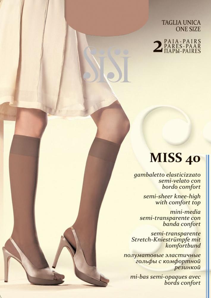 Гольфы Sisi Miss 40 New, цвет: Daino (загар), 2 пары. Размер универсальный колготки sisi mia размер 4 плотность 40 den daino