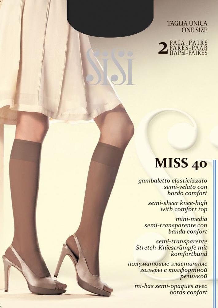 Гольфы Sisi Miss 40 New, цвет: Nero (черный), 2 пары. Размер универсальныйMiss 40 NEWЭластичные гольфы Sisi с комфортной резинкой и невидимым мыском. Плотность 40 DEN.
