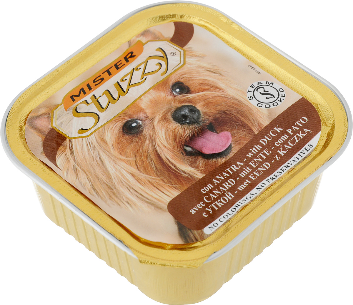 Консервы для собак Stuzzy Mister, с уткой, 150 г131.C257Stuzzy Mister - это полнорационный корм для взрослых собак. Корм обогащен таурином и витамином Е для поддержания правильной работы сердца и иммунной системы. Инулин обеспечивает всасывание питательных веществ, а биотин способствуют великолепному внешнему виду кожи и шерсти. Корм приготовлен на пару, не содержит красителей и консервантов. Товар сертифицирован.