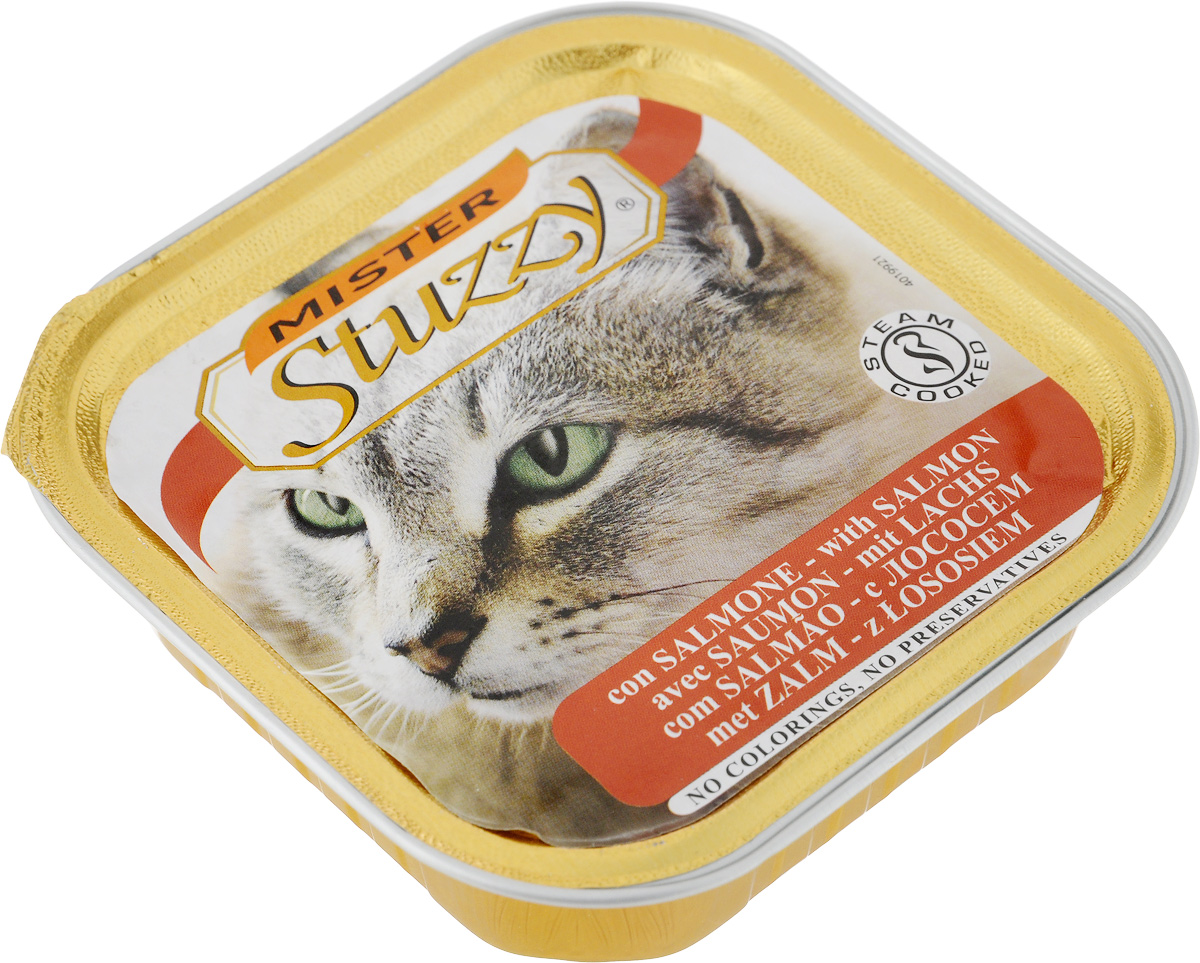 Консервы для кошек Stuzzy Mister, с лососем, 100 г131.C209Stuzzy Mister - это полнорационный корм для взрослых кошек. Корм обогащен таурином и витамином Е для поддержания правильной работы сердца и иммунной системы. Инулин обеспечивает всасывание питательных веществ, а биотин способствуют великолепному внешнему виду кожи и шерсти. Корм приготовлен на пару, не содержит красителей и консервантов. Товар сертифицирован.
