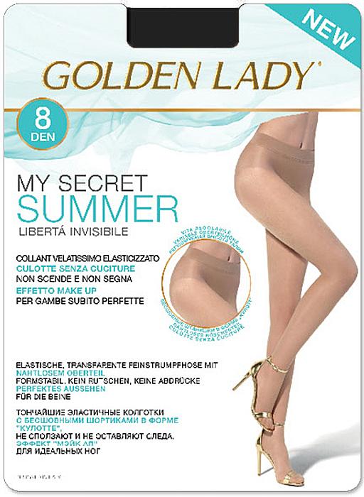 Колготки Golden Lady My Secret Summer 8, цвет: Nero (черный). Размер 5My Secret Summer 8Тончайшие эластичные колготки с бесшовными шортиками в форме кулотте, не сползают и не оставляют следа, эффект мэйк ап для идеальных ног.