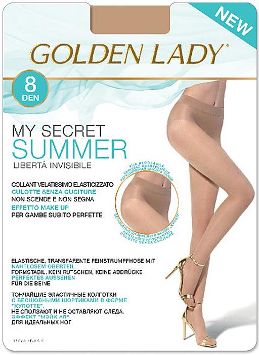 Колготки Golden Lady My Secret Summer 8, цвет: The (чайный). Размер 4My Secret Summer 8Тончайшие эластичные колготки с бесшовными шортиками в форме кулотте, не сползают и не оставляют следа, эффект мэйк ап для идеальных ног.