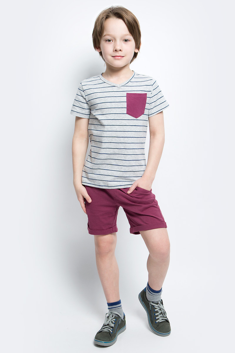 Футболка для мальчика Button Blue Main, цвет: серый, синий. 117BBBC12011905. Размер 98, 3 года button blue шапка для мальчика button blue