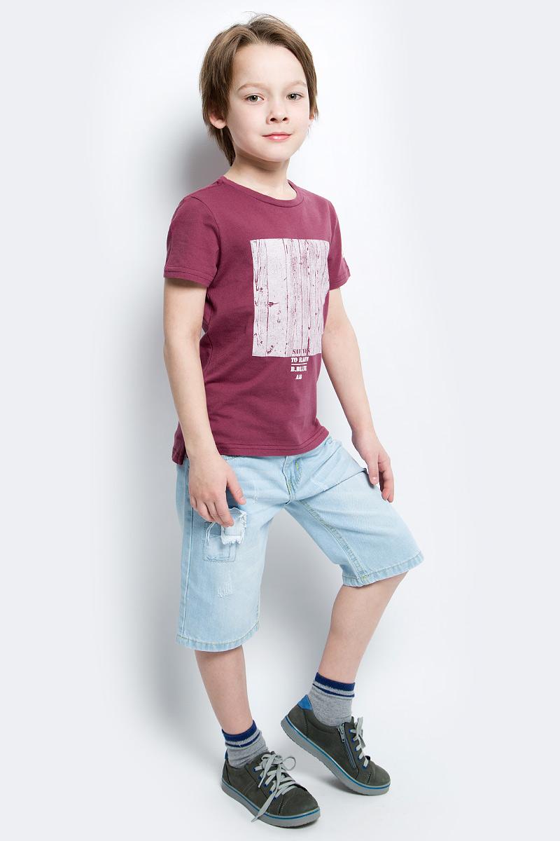 Футболка для мальчика Button Blue Main, цвет: брусничный. 117BBBC12020300. Размер 152, 12 лет117BBBC12020300Футболка с принтом - не только базовая вещь в гардеробе ребенка, но и основа модного летнего образа. Если вы решили купить недорогую футболку для мальчика, выберете футболку от Button Blue. Высокое качество подарит удобство, комфорт и принесет удовольствие от покупки.