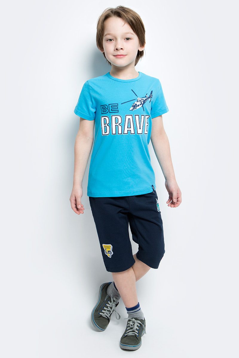 Футболка для мальчика PlayToday, цвет: голубой, белый, темно-синий. 171078. Размер 116171078Футболка для мальчика PlayToday выполнена из эластичного хлопка. Модель с круглым вырезом горловины и короткими рукавами оформлена оригинальным принтом.