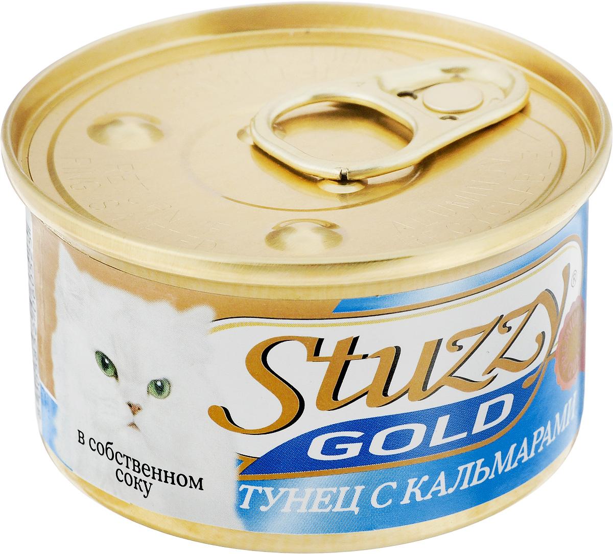Консервы для взрослых кошек Stuzzy Gold, тунец с кальмарами в собственном соку, 85 г132.C400Консервы для кошек Stuzzy Gold - это дополнительный рацион для взрослых кошек. Корм обогащен таурином и витамином Е для поддержания правильной работы сердца и иммунной системы. Инулин обеспечивает всасывание питательных веществ, а биотин способствуют великолепному внешнему виду кожи и шерсти. Корм приготовлен на пару, не содержит красителей и консервантов.Состав: субпродукты морепродуктов: тунец 59,4%, кальмары 4,7%, креветки 2,4%, рис 1,5%. Питательная ценность: белок 14%, жир 2%, клетчатка 0,2%, зола 2,5%, влажность 79,2%.Питательные добавки (на кг): витамин А 1325 МЕ, витамин D3 110 МЕ, витамин Е 15 мг, таурин 160 мг. Товар сертифицирован.
