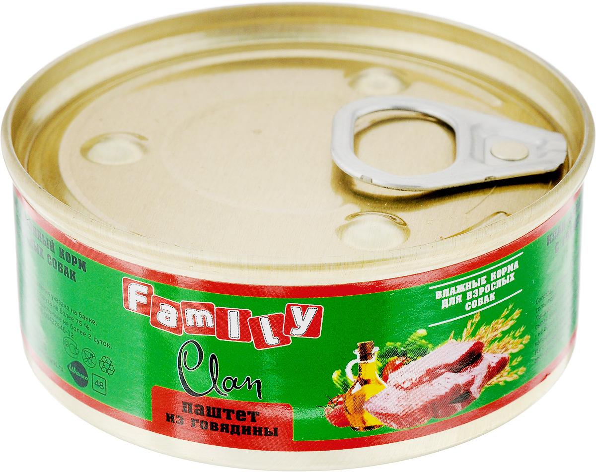 Консервы для взрослых собак Clan Family, паштет из говядины, 100 г консервы для собак clan de file с ягненком 340 г