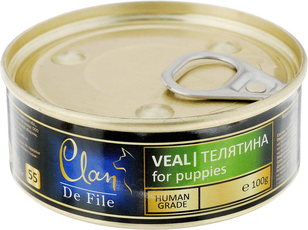 Консервы для щенков Clan De File, с телятной, 100 г консервы для кошек clan de file с говядиной 100 г