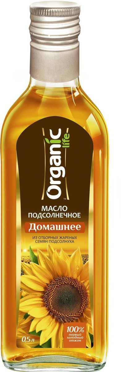 Organic Life масло подсолнечное Домашнее, 500 мл212042Подсолнечное масло Домашнее марки Organic Life получено из отборных обжаренных семян подсолнечника по технологии холодного прессования. Именно такой метод изготовления позволяет сохранить все полезные свойства и изысканные вкусовые качества масла. Витамин Е в составе подсолнечного масла замедляет старение клеток и делает его омолаживающим продуктом, за счет мощных антиоксидантных свойств. Линолевая кислота способствует укреплению иммунной защиты организма. А витамины А и D нужны для поддержания в норме зрения, хорошего состояния костей и кожи. Масло обладает насыщенным пикантным вкусом, отлично подчеркнет вкус домашних солений и салатов.