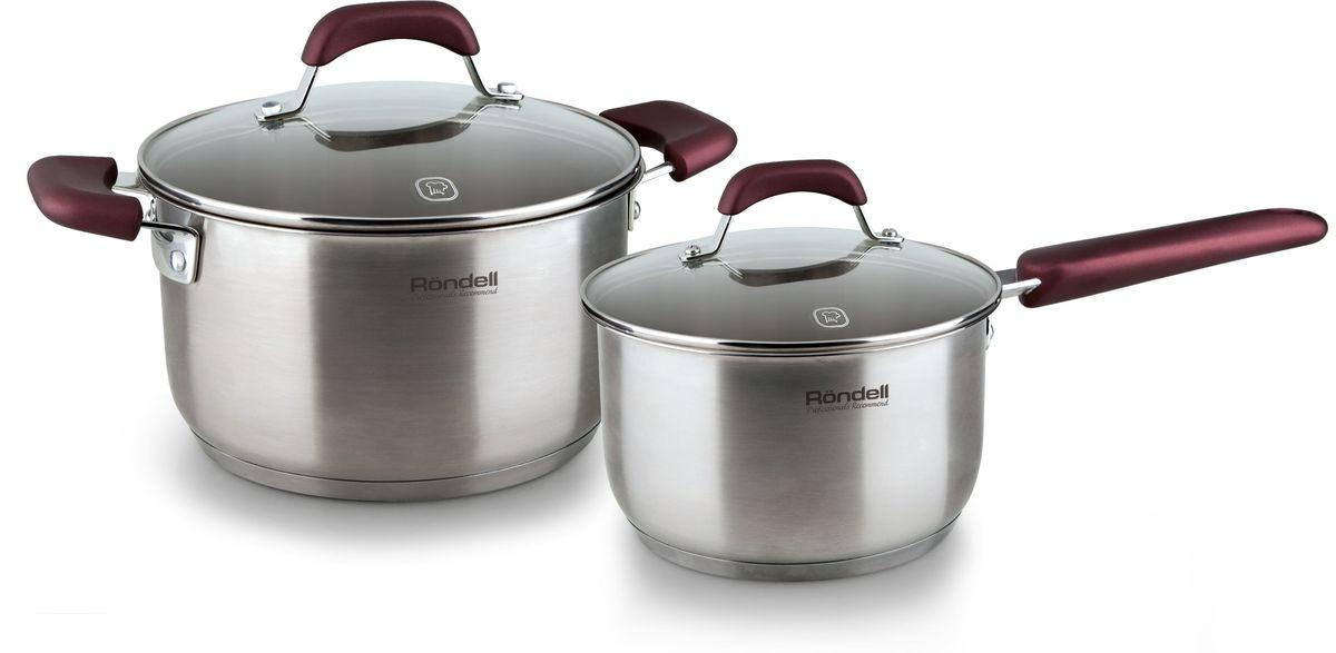Набор посуды Rondell Bojole, цвет: стальной, 4 предмета. RDS-821RDS-821В набор посуды Rondell Bojole входят 4 предмета: кастрюля - 3,3 л., ковш - 1,7 л., 2 крышки.Набор посуды Rondell Bojole выполнен из высококачественной нержавеющей стали 18/10. Толщина стенок 0,5 мм. Тройное вштампованное, а затем вплавленное дно 5,0 мм. Матированная обработка внешней поверхности. Отметки литража на внутренней поверхности посуды. Крышка из термостойкого стекла с отверстием для выпуска пара. Эргономичные ручки из бакелита с силиконовым напылением.Плавный переход от дна к стенкам. Прилагается буклет с рецептами.Кастрюли подходят для всех видов плит. Не подходит для посудомоечной машины.Диаметр кастрюли - 20 см.Диаметр ковша - 16 см.