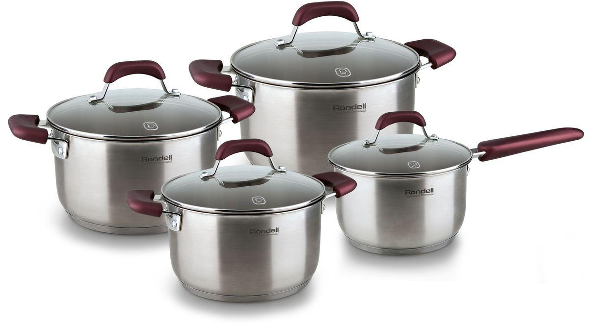 Набор посуды Rondell Bojole, цвет: стальной, 8 предметов. RDS-824RDS-824В набор посуды Rondell Bojole входят 8 предметов: 3 кастрюли - 2,3 л., 3,3 л., 5,6 л., ковш - 1,7 л., 4 крышки.Предметы выполнены из высококачественной нержавеющей стали 18/10. Толщина стенок 0,5 мм. Тройное вштампованное, а затем вплавленное дно 5,0 мм. Матированная обработка внешней поверхности. Отметки литража на внутренней поверхности посуды. Крышки из термостойкого стекла с отверстием для выпуска пара. Эргономичные ручки из бакелита с силиконовым напылением. Прилагается буклет с рецептами. Подходит для всех видов плит. Не подходит для посудомоечной машины.Диаметр кастрюль: 18 см, 20 см, 24 см.Диаметр ковша: 16 см.