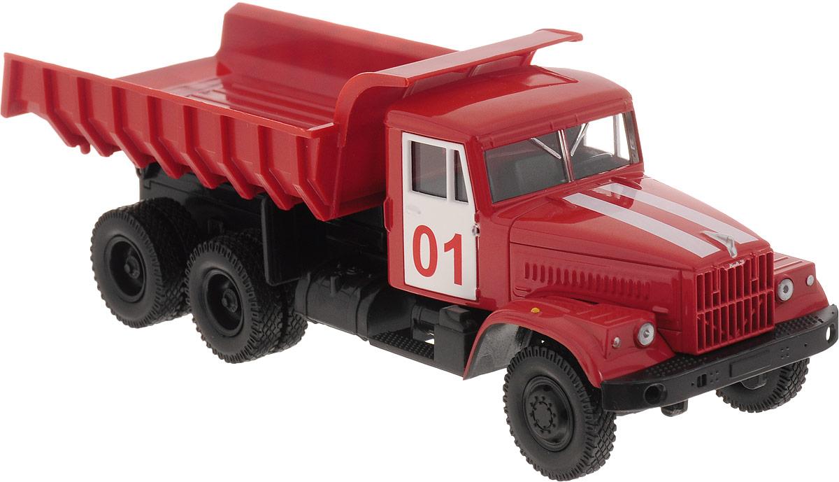 Autotime Модель автомобиля KRAZ-256В цвет красный бортовой грузовик autotime с тентом маз 516 в ассорт