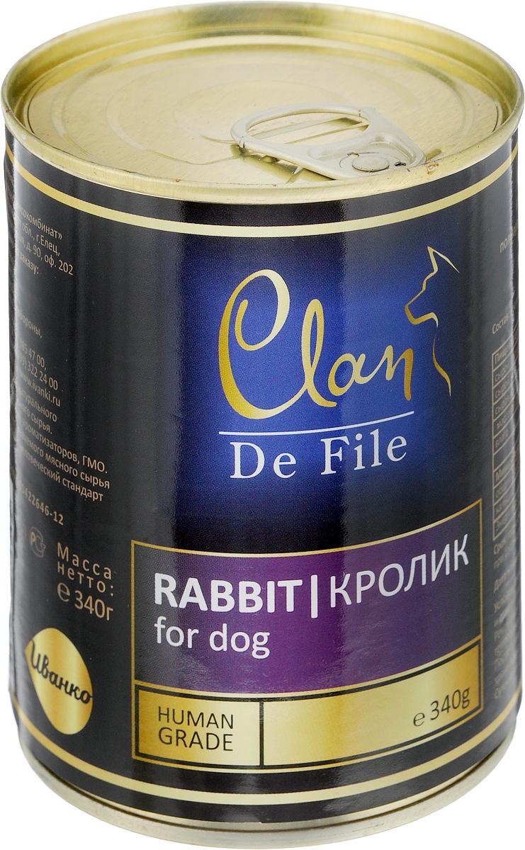 Консервы для собак Clan De File, с кроликом, 340 г консервы для собак clan pride рубец говяжий 340 г