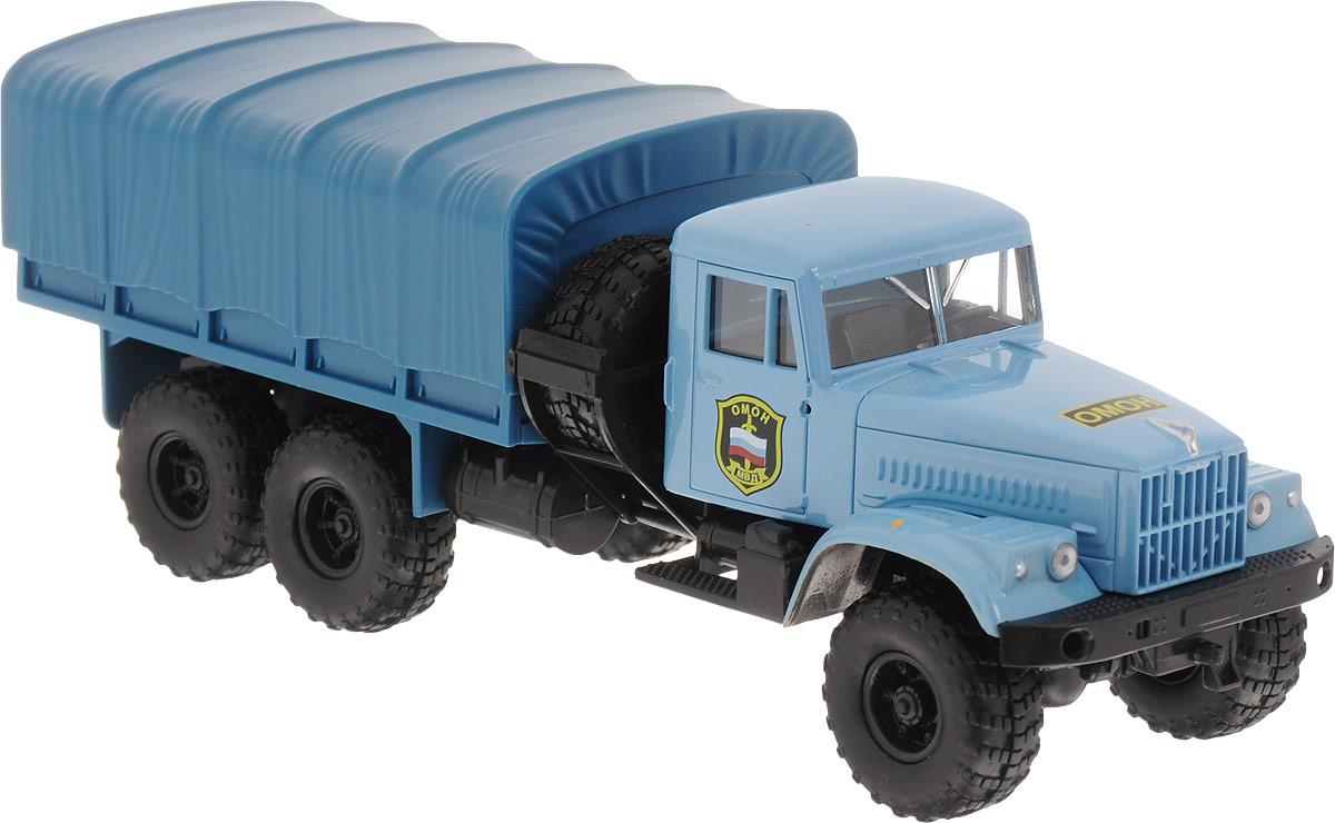 Autotime Модель автомобиля KRAZ-255В цвет голубой бортовой грузовик autotime с тентом маз 516 в ассорт