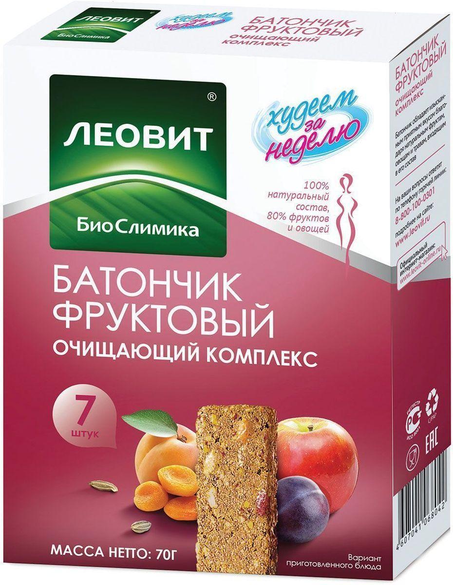 БиоСлимика Очищающий комплекс батончик фруктовый, 7 шт по 10 г рубар протеиновый батончик с семенами чиа и спирулиной 30гр organic
