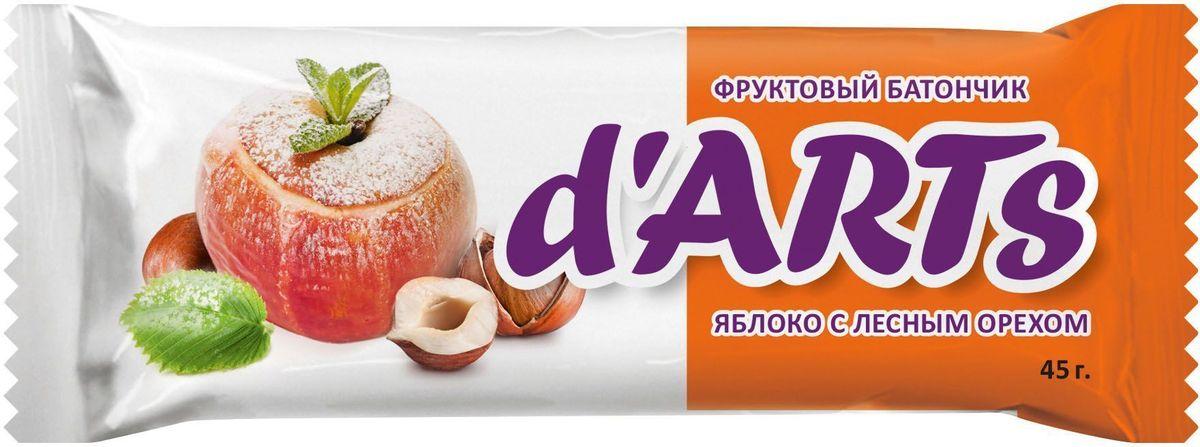 D'arts Яблоко с лесным орехом батончик фруктовый, 45 г