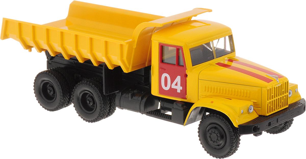 Autotime Модель автомобиля KRAZ-256В цвет желтый бортовой грузовик autotime с тентом маз 516 в ассорт