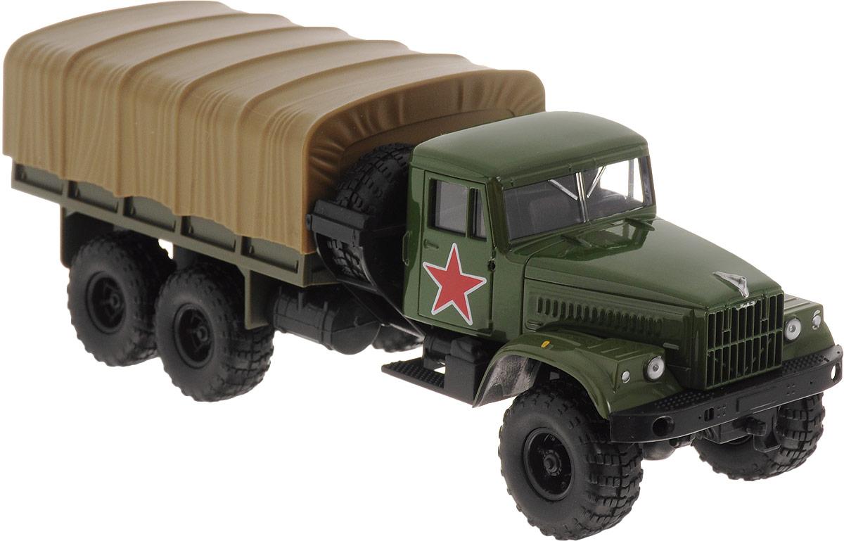 Autotime Модель автомобиля KRAZ-255В цвет зеленый болотный бортовой грузовик autotime с тентом маз 516 в ассорт