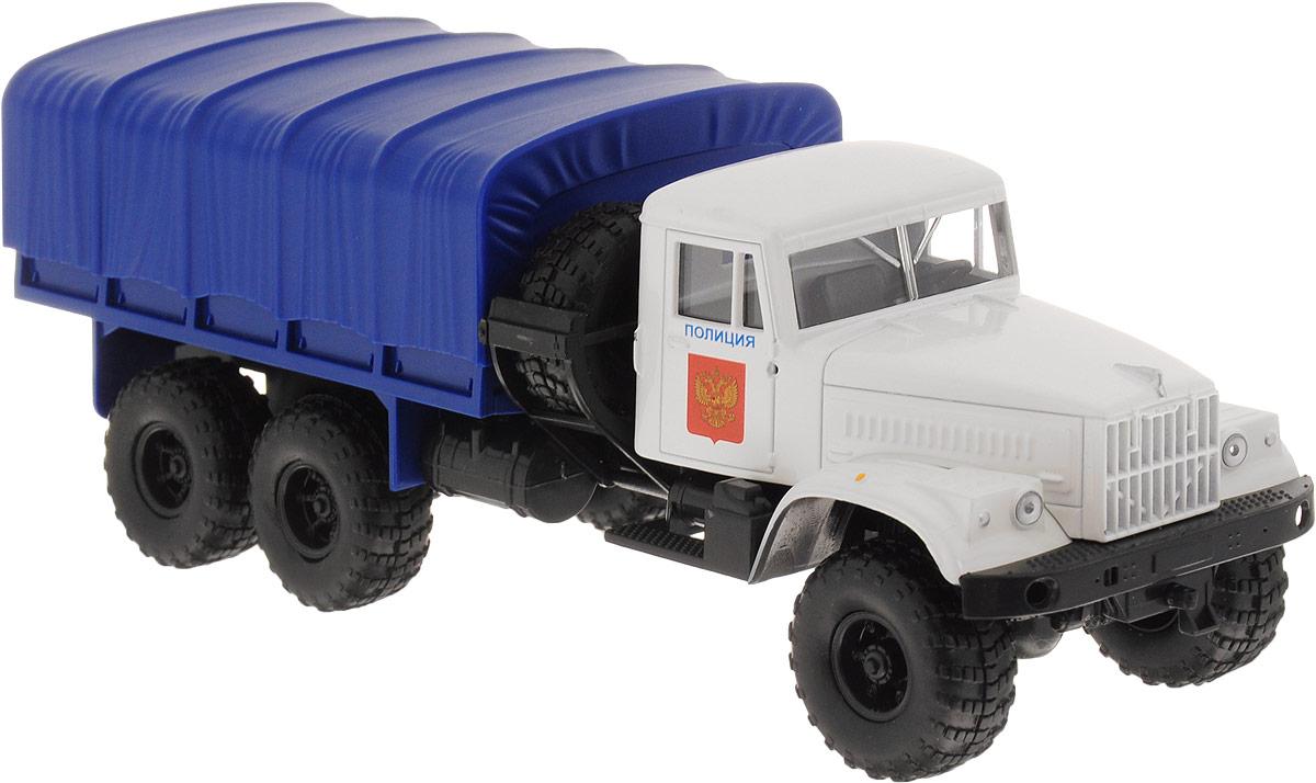 Autotime Модель автомобиля KRAZ-255В цвет белый синий бортовой грузовик autotime с тентом маз 516 в ассорт
