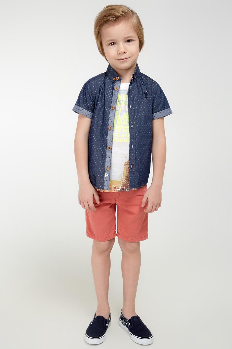 Рубашка для мальчика Acoola Sedric, цвет: темно-синий. 20120290021_600. Размер 9220120290021_600Стильная рубашка для мальчика Acoola Sedric выполнена из 100% хлопка и оформлена принтом в горошек. Модель прямого кроя с короткими рукавами, полукруглым низом спинки и отложным воротничком застегивается на пуговицы. На груди рубашка декорирована небольшой вышивкой в виде пальм. Такая модная и комфортная модель позволит создавать стильные летние образы.