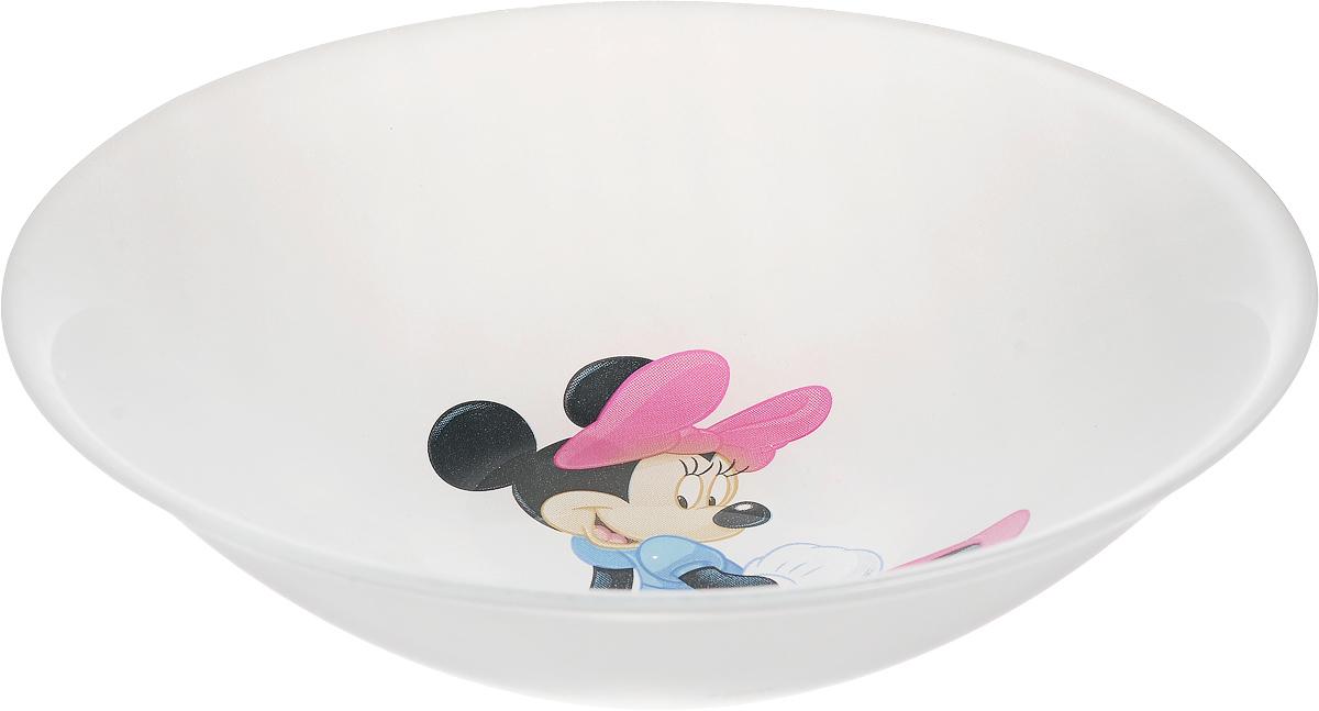 """Миска Luminarc """"Disney Minnie Colors"""", декорированная изображением Minnie, изготовлена из высококачественного ударопрочного стекла. Изделие устойчиво к повреждениям и истиранию, в процессе эксплуатации не впитывает запахи и сохраняет первоначальные краски.  Миска подходит для подачи жидких блюд, каш, мюсли и многого другого.  Посуда Luminarc обладает не только высокими техническими характеристиками, но и красивым эстетичным дизайном. Luminarc - это современная, красивая, практичная столовая посуда.Можно мыть в посудомоечной машине."""