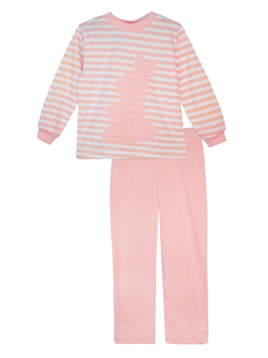 Пижама для девочки КотМарКот, цвет: белый, розовый. 16612. Размер 11616612Пижама для девочки КотМарКот выполнена из натурального хлопка и состоит из кофточки и брючек. Кофточка выполнена с длинными рукавами и удобным круглым воротом. Штанишки на талии собраны на эластичную резинку. Кофточка оформлена крупной оригинальной аппликацией. Манжеты рукавов и горловина кофты отделаны эластичными мягкими резинками.