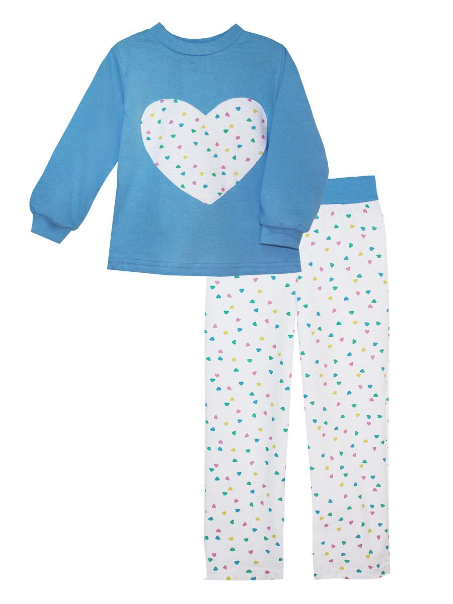 Пижама для девочки КотМарКот, цвет: голубой, белый. 16613. Размер 10416613Пижама для девочки КотМарКот изготовлена из натурального хлопка и состоит из кофточки и брючек. Кофточка выполнена с длинными рукавами и удобным круглым воротом. Штанишки на талии собраны на эластичную резинку. Кофточка оформлена крупной оригинальной аппликацией в виде сердца. Манжеты рукавов и горловина кофты отделаны эластичными мягкими резинками.