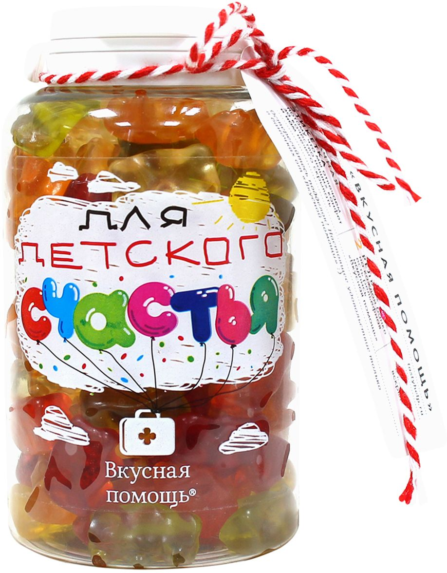 Вкусная помощь конфеты Для детского счастья, 250 гУТ-00001305Баночка сладостей Для детского счастья теперь еще лучше и полезнее, чем прежде. Специальная рельефная надпись Вкусная помощь на упаковке защитит вас от подделок. А уникальный прозрачный дизайн создан, чтобы вы видели, что находится внутри.Каждая мармеладка имеет свой исключительный вкус и аромат – яблоко, апельсин, лимон, малина, виноград. С фигурками мишек можно играть, считать, складывать. Разноцветные мармеладки мишки принесут море радости и удовольствия детям. Это легендарное лакомство, известное во всем мире. Популярный мультсериал Приключения мишек Гамми, снятый студией Диснея, как раз про этих удивительные мармеладки.Кроме того, одна волшебная конфетка заменяет час рисования на стенах и мебели, пол часа игры на телефоне и час игры на планшете, одно безобразие и две небольшие проказы! Отлично использовать в воспитательных целях!На банке написано:Одна конфета заменяет:час рисования на стенах, мебели и домашних животныхцелый день просмотра мультиков100 прыжков по лужам босикомкилограмм мороженого или плитку шоколадаодно безобразие и две небольшие проказы (или наоборот)пол часа прыжков на кроватипол часа игры на телефоне, 20 минут игры на планшете и 10 минут игры на компьютере.