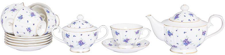 Набор чайный Elan Gallery Сиреневый туман, 14 предметов740303Изысканный чайный набор с цветочным декором на 6 персон украсит Ваше чаепитие. В комплекте 6 чашек объемом 250 мл, 6 блюдец, сахарница объемом 450 мл, чайник объемом 1,1 л. Изделие имеет подарочную упаковку, поэтому станет желанным подарком для Ваших близких! Соберите всю коллекцию предметов сервировки Сиреневый туман и Ваши гости будут в восторге!