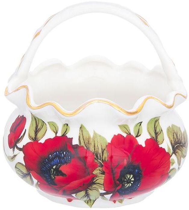 """Корзинка Elan Gallery """"Маки"""" изготовлена из высококачественной керамики с глазурованным покрытием. Изделие декорировано рисунком в виде  цветов и золотистой эмалью.  Декоративная корзинка может использоваться как конфетница. Она украсит ваш интерьер и станет прекрасным подарком для ваших близких!"""