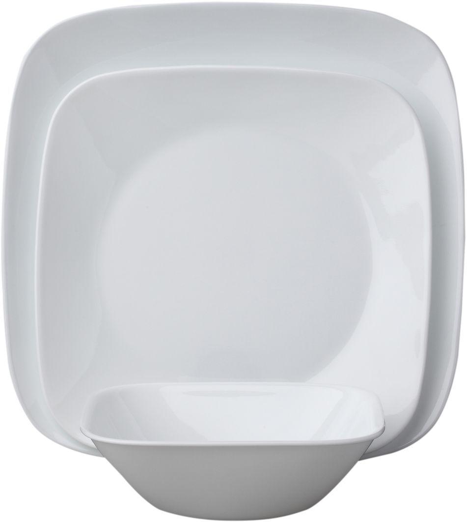 Набор столовой посуды Corelle Pure White, 18 предметов. 10886411088641Посуда Corelle мирового бренда WorldKitchen сделана из материала Vitrelle. Стекло Vitrelle является экологически чистым материалом без посторонних добавок. Идеальный белый цвет посуды достигается путем сверхвысокой термической обработки компонентов. Vitrelle сверхпрочный материал, используемый для столовой посуды, изобретенный в начале 1970х в Соединенных Штатах Америки. Материал сделан из трех слоев стекла спеченных вместе. Посуда Vitrelle тонка и легка при том, что является более ударопрочной по сравнению с обычной столовой посудой. Соль, полевой шпат, известняк, и 2 других вида соли попадают в печь, где при 1400 градусов Цельсия превращаются в жидкое стекло. Стекло заливается в молды, где соединяются 3 слоя в один. Края посуды обрабатываются огненной полировкой. Проходя через дополнительную обработку, три слоя приобретают сверхпрочность. Путем шелкографии на днище наносится бренд, а так же дополнительная информация. Узор на посуде так же наносится путем шелкографии. Готовая посуда подвергается воздействию 800 градусов для закрепления узора. В конце посуда обрабатывается спреем на основе силикона для исключения царапин при транспортировке.