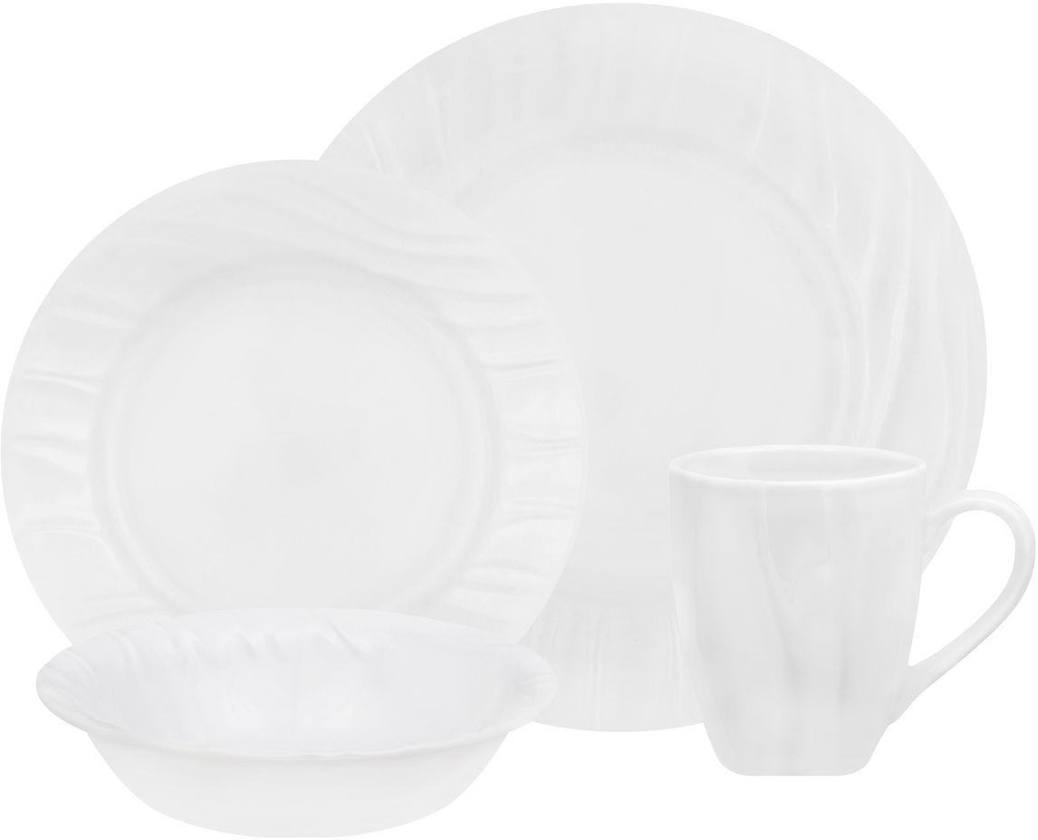 Набор столовой посуды Corelle Swept, 16 предметов. 1107873115510Посуда Corelle мирового бренда WorldKitchen сделана из материала Vitrelle. Стекло Vitrelle является экологически чистым материалом без посторонних добавок. Идеальный белый цвет посуды достигается путем сверхвысокой термической обработки компонентов. Vitrelle сверхпрочный материал, используемый для столовой посуды, изобретенный в начале 1970х в Соединенных Штатах Америки. Материал сделан из трех слоев стекла спеченных вместе. Посуда Vitrelle тонка и легка при том, что является более ударопрочной по сравнению с обычной столовой посудой. Соль, полевой шпат, известняк, и 2 других вида соли попадают в печь, где при 1400 градусов Цельсия превращаются в жидкое стекло. Стекло заливается в молды, где соединяются 3 слоя в один. Края посуды обрабатываются огненной полировкой. Проходя через дополнительную обработку, три слоя приобретают сверхпрочность. Путем шелкографии на днище наносится бренд, а так же дополнительная информация. Узор на посуде так же наносится путем шелкографии. Готовая посуда подвергается воздействию 800 градусов для закрепления узора. В конце посуда обрабатывается спреем на основе силикона для исключения царапин при транспортировке.