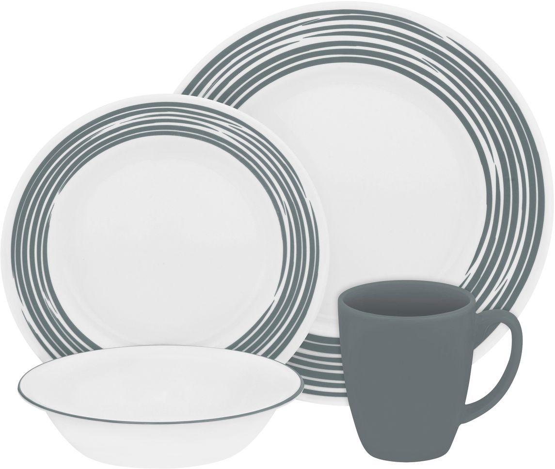 Набор столовой посуды Corelle Brushed Silver, 16 предметов. 11169401116940Посуда Corelle мирового бренда WorldKitchen сделана из материала Vitrelle. Стекло Vitrelle является экологически чистым материалом без посторонних добавок. Идеальный белый цвет посуды достигается путем сверхвысокой термической обработки компонентов. Vitrelle сверхпрочный материал, используемый для столовой посуды, изобретенный в начале 1970х в Соединенных Штатах Америки. Материал сделан из трех слоев стекла спеченных вместе. Посуда Vitrelle тонка и легка при том, что является более ударопрочной по сравнению с обычной столовой посудой. Соль, полевой шпат, известняк, и 2 других вида соли попадают в печь, где при 1400 градусов Цельсия превращаются в жидкое стекло. Стекло заливается в молды, где соединяются 3 слоя в один. Края посуды обрабатываются огненной полировкой. Проходя через дополнительную обработку, три слоя приобретают сверхпрочность. Путем шелкографии на днище наносится бренд, а так же дополнительная информация. Узор на посуде так же наносится путем шелкографии. Готовая посуда подвергается воздействию 800 градусов для закрепления узора. В конце посуда обрабатывается спреем на основе силикона для исключения царапин при транспортировке.