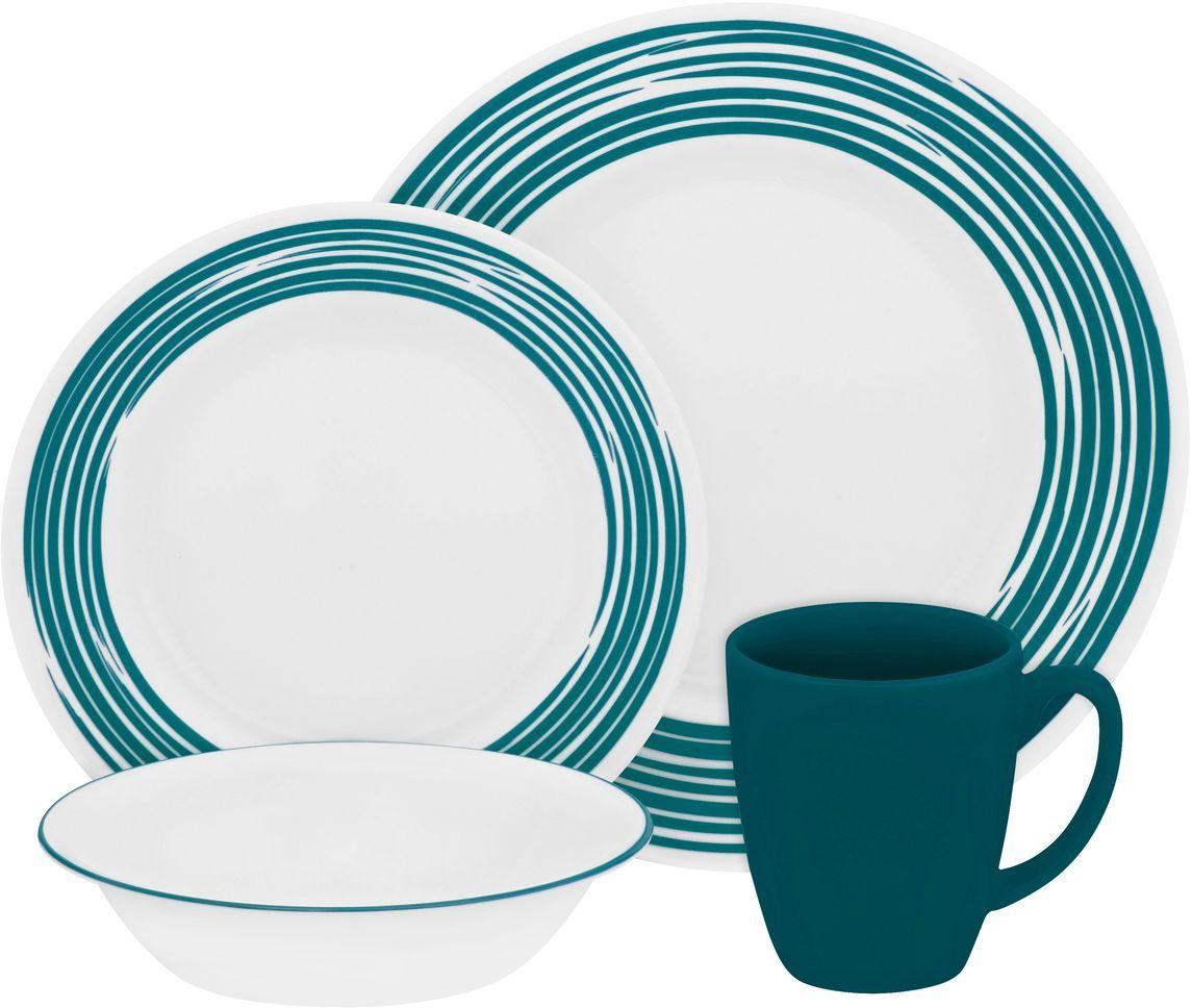 Набор посуды Corelle Brushed Turquoise, цвет: белый, 16 предметов. 11170231117023Посуда Corelle Brushed Turquoise выполнена из материала Vitrelle. Стекло Vitrelle является экологически чистым материалом без посторонних добавок. Идеальный белый цвет посуды достигается путем сверхвысокой термической обработки компонентов. Vitrelle сверхпрочный материал, используемый для столовой посуды, изобретенный в начале 1970-х в Соединенных Штатах Америки. Материал сделан из трех слоев стекла спеченных вместе.Посуда Vitrelle тонка и легка при том, что является более ударопрочной по сравнению с обычной столовой посудой. Соль, полевой шпат, известняк, и 2 других вида соли попадают в печь, где при 1400 C превращаются в жидкое стекло. Стекло заливается в молды, где соединяются 3 слоя в один. Края посуды обрабатываются огненной полировкой. Проходя через дополнительную обработку, три слоя приобретают сверхпрочность. Путем шелкографии на днище наносится бренд, а так же дополнительная информация. Узор на посуде так же наносится путем шелкографии. Готовая посуда подвергается воздействию 800 градусов для закрепления узора. В конце посуда обрабатывается спреем на основе силикона для исключения царапин при транспортировке. В набор входит: кружка 325 мл - 4 шт., тарелка обеденная 26 см - 4 шт., тарелка закусочная 22 см - 4 шт., тарелка суповая 530 мл - 4 шт.