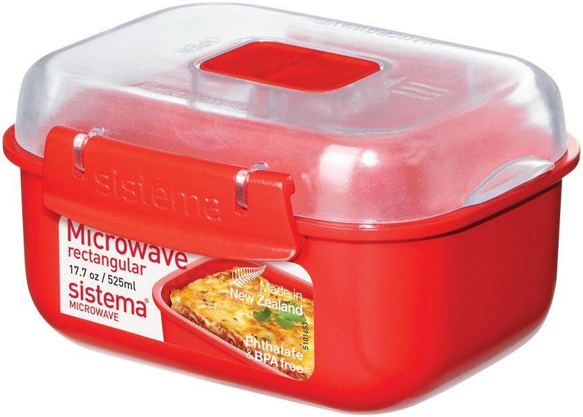 Контейнер пищевой Sistema Microwave, цвет: красный, 525 мл. 11191119Используя высококачественный контейнер Sistema Microwave вы с легкостью сможете не только разогреть пищу в СВЧ, но и приготовить ее. Нет ничего более полезного, чем приготовление на пару в контейнерах Sistema. Просто налейте воды в базовый контейнер, поместите пищу в контейнер, откройте на крышке клапан пароотвода и поместите все в микроволновую печь. Через несколько минут вы можете насладиться божественной пищей. Время приготовления может варьироваться в зависимости от мощности СВЧ.Материал контейнера не выделяет фенол в готовящуюся пищу.Размеры: 14,5 х 11,5 х 7,5 см.