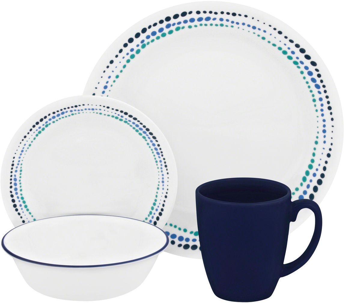 Набор посуды Corelle Ocean Blues, цвет: белый, 16 предметов. 11194031119403Серия Corelle Livingware Ocean Blues - это посуда, на которой танцуют капельки яркой краски, посуда, которой можно оживить и украсить современный стол. Набор посуды Corelle Ocean Blues состоит из:-обеденная тарелка, 26 см - 4 шт;-десертная тарелка, 17 см - 4 шт;-суповая тарелка, 530 мл - 4 шт;-фарфоровая кружка, 310 мл - 4 шт.
