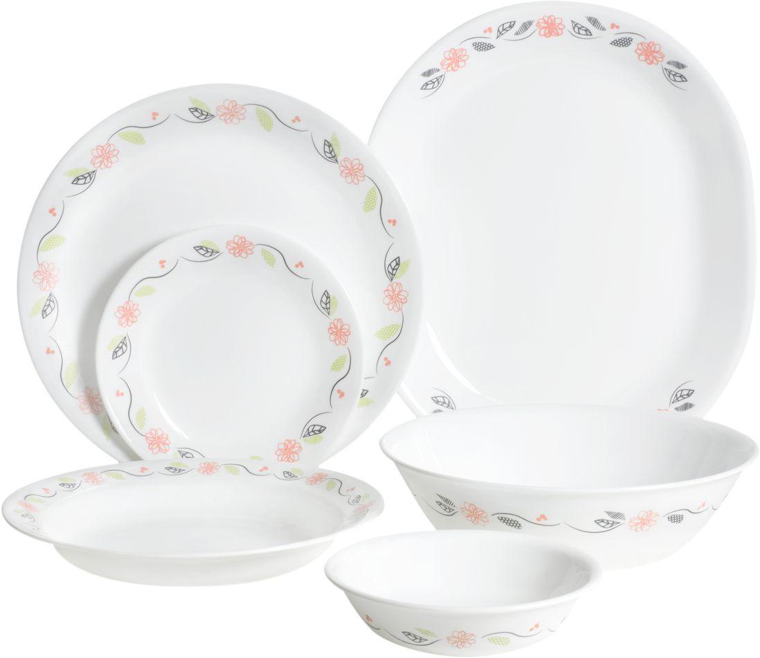Набор посуды Corelle Tangerine Garden, цвет: белый, 26 предметов. 11206551120655Коллекция Tangerine Garden воплощает утонченную изысканность тонкого фарфора, но остается верной знаменитому наследию Corelle. Спокойный узор в мягких тонах дополняет классический стиль посуды. И будьте уверены - эта посуда украсит любой стол. Набор посуды Tangerine Garden состоит из:-обеденная тарелка, 26 см - 6 шт;-тарелка закусочная, 17 см - 6 шт;-суповая тарелка, 530 мл - 6 шт;-салатник, 300 мл - 6 шт;-блюдо сервировочное, 31 см - 1 шт;-салатник 950 мл - 1 шт.