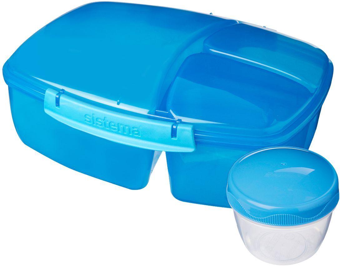 Контейнер пищевой Sistema Lunch, 3-х секционный, с баночкой, 2 л. 2092020920Особенности линейки: Предназначены для людей с активным образом жизни, для тех кто все успевает.Оригинальный дизайн и многообразие цветов.Оригинальная система клапана для закрытия различные емкости контейнеров.Надежность закрытия контейнера.Материал контейнера свободный от фенола и других вредных примесей.В наличии одиночные контейнеры и наборы.Серия контейнеров и бутылок по принципу возьми с собой. SISTEMA To Go