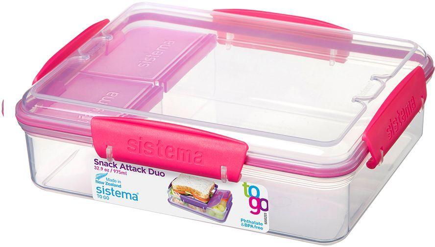 контейнер с разделителем to go 410мл Контейнер пищевой Sistema To-Go, с разделителями, цвет: прозрачный, красный, 975 мл. 21482