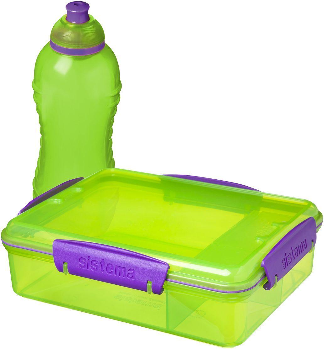 Набор Sistema Lunch: контейнер с разделителями 975 мл, бутылка 330 мл. 41575 раздвижной большой стеклянный обеденный стол кубика нагано 2 стекло стекло оранжевое беленый дуб