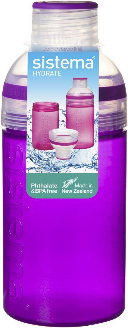 Бутылка для воды Sistema Hydrate. Трио, цвет: фиолетовый, 480 мл. 820820Бутылка Sistema Hydrate. Трио предназначена для людей с активным образом жизни, для тех кто все успевает. Оригинальная система клапана для закрытия различные емкости контейнеров. Надежность закрытия контейнера. Материал контейнера свободный от фенола и других вредных примесей. Объем: 480 мл.