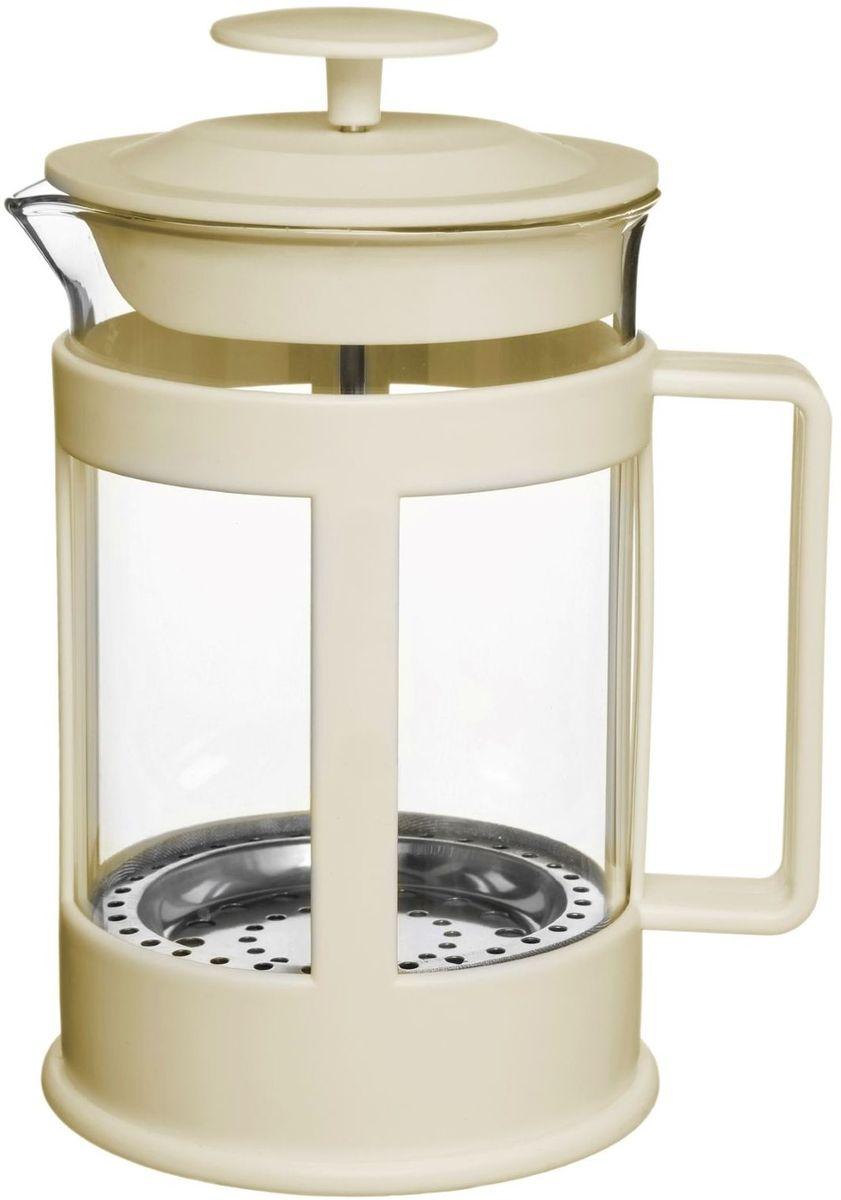 Френч-пресс Доляна Классика, цвет: кремовый, прозрачный, 800 мл1075435Френч-пресс Доляна Классика - замечательное приспособление для приготовления чая и кофе. Он пользуется огромным спросом у любителей этих напитков, ведь изделие довольно простое в использовании и имеет ряд преимуществ. Чай в нем быстрее заваривается, емкость позволяет наиболее полно раскрыться вкусовым качествам напитка. Вы можете готовить кофе и чай с любимыми специями и травами.Чтобы приготовить кофе, сначала вам нужно перемолоть зерна. Степень помола - грубая. Вскипятите воду. Насыпьте кофе в изделие и медленно залейте его кипятком из чайника. Наполните приспособление до середины, подождите 1 минуту и долейте остальное. Накройте крышкой, пусть напиток настоится еще 3 минуты. Медленно опустите поршень. Оставьте кофе на 3 минуты, чтобы опустился осадок. Ваш напиток готов!