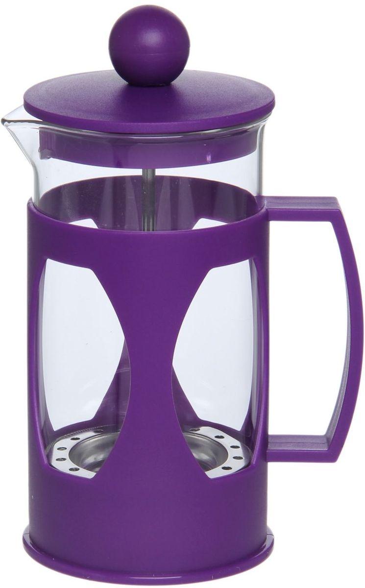 Френч-пресс Доляна Оливер, цвет: фиолетовый, 350 мл1075438Френч-пресс —приспособление для приготовления чая и кофе. Он пользуется огромным спросом у любителей этих напитков, ведь изделие довольно простое в использовании и имеет ряд других преимуществ: чай в нём быстрее заваривается; ёмкость позволяет наиболее полно раскрыться вкусовым качествам напитка; вы можете готовить кофе и чай с любимыми специями и травами. Как сделать вкусный кофе при помощи френч-пресса? Сначала вам нужно перемолоть зёрна. Степень помола — грубая. Вскипятите воду. Насыпьте кофе в изделие и медленно залейте его кипятком из чайника. Сначала наполните приспособление до середины, подождите 1 минуту и долейте остальное. Накройте крышкой, пусть напиток настоится ещё 3 минуты. Медленно опустите поршень. Оставьте кофе на 3 минуты, чтобы опустился осадок. Ваш напиток готов!
