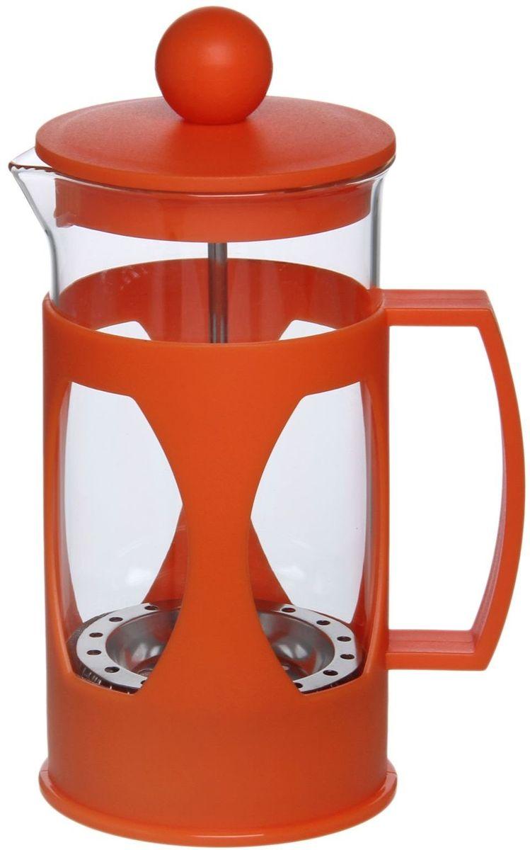 Френч-пресс Доляна Оливер, цвет: оранжевый, 350 мл1075439Френч-пресс —приспособление для приготовления чая и кофе. Он пользуется огромным спросом у любителей этих напитков, ведь изделие довольно простое в использовании и имеет ряд других преимуществ:чай в нём быстрее заваривается;ёмкость позволяет наиболее полно раскрыться вкусовым качествам напитка;вы можете готовить кофе и чай с любимыми специями и травами.Как сделать вкусный кофе при помощи френч-пресса?Сначала вам нужно перемолоть зёрна. Степень помола — грубая.Вскипятите воду.Насыпьте кофе в изделие и медленно залейте его кипятком из чайника.Сначала наполните приспособление до середины, подождите 1 минуту и долейте остальное. Накройте крышкой, пусть напиток настоится ещё 3 минуты.Медленно опустите поршень.Оставьте кофе на 3 минуты, чтобы опустился осадок. Ваш напиток готов!